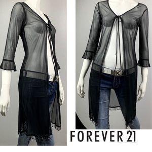 F21 Vintage 90s Black Sheer Beaded Cardigan Jacket